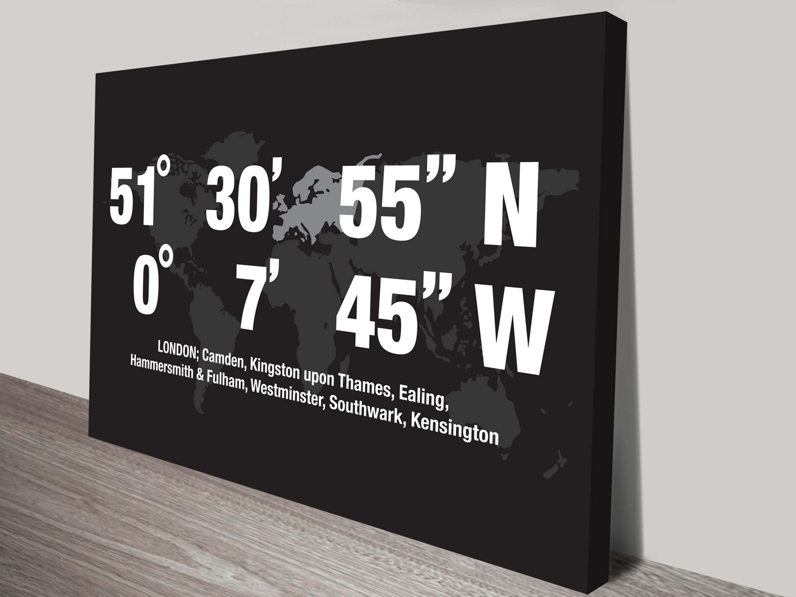 Coordinates Personalised Location Art London | London Coordinates Art