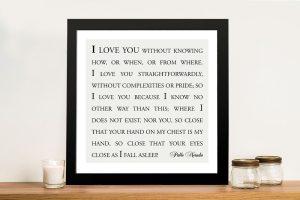 Love you straightforwardly Custom Framed Wall Art
