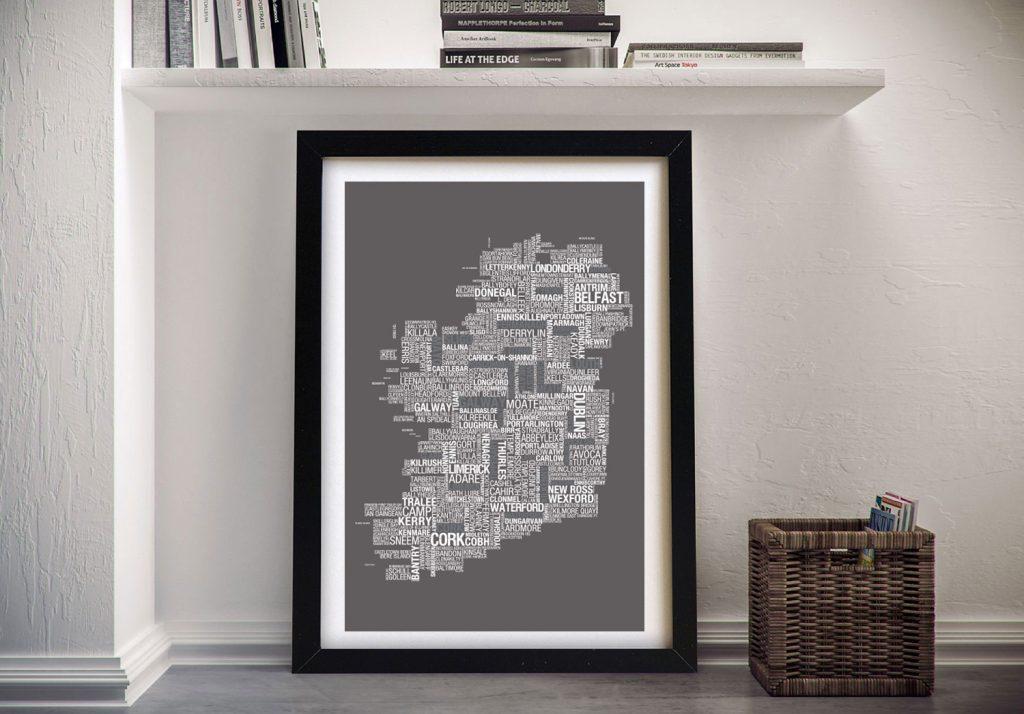 Map of Ireland Framed Wall Art