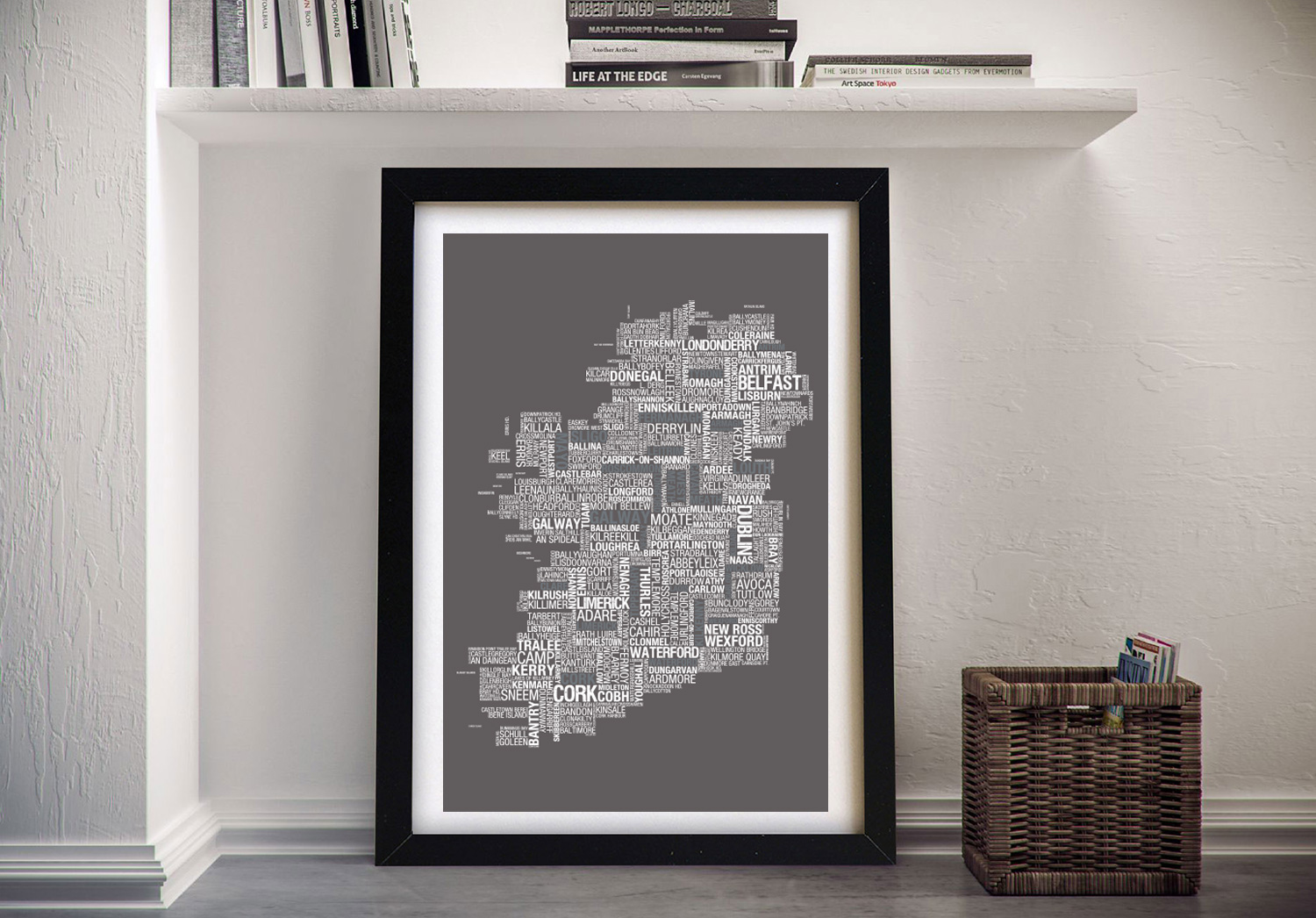 Map of Ireland Framed Wall Art | Custom Word Map With Location Title