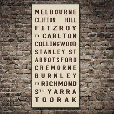 Melbourne Tram scroll canvas Print | Melbourne – beige