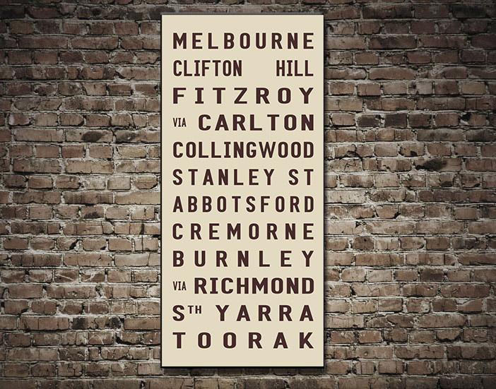 Melbourne Tram scroll canvas Print | Melbourne – beige