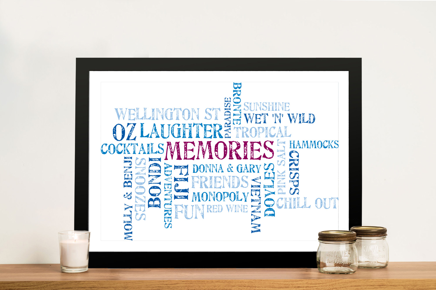 Personalised Word Cloud Memories Framed Wall Art | Memories