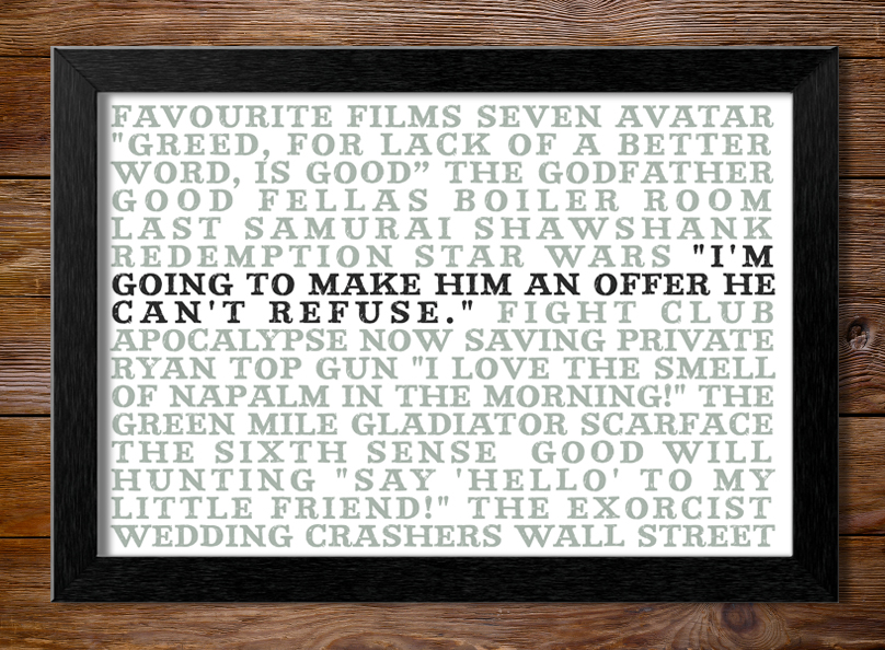 Favourite Films Personalised Canvas Word Art | My Favourite Films