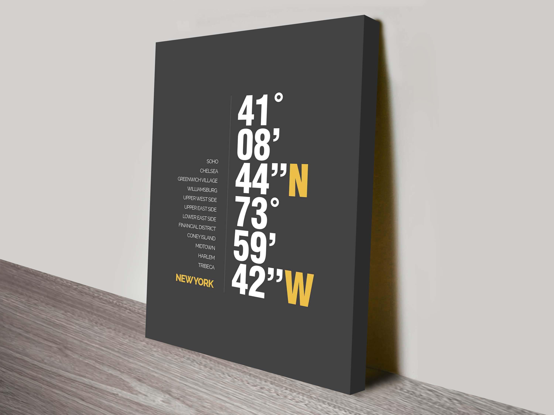 Latitude longitude canvas word art beyondaword