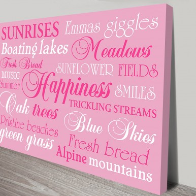 Personalized Custom Canvas Art | Happiness Pink – Bespoke Art