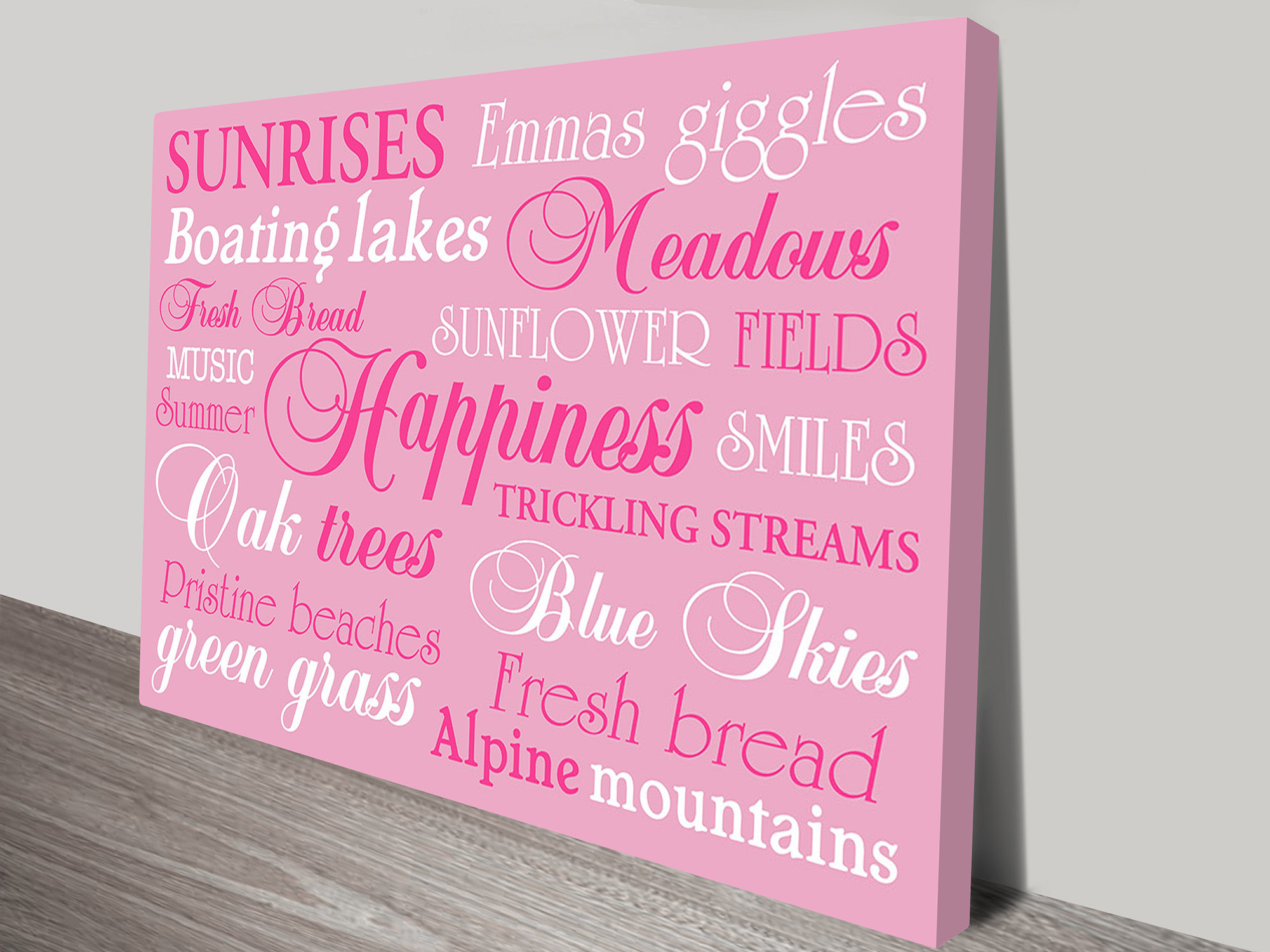 Personalized Custom Canvas Art | Happiness Pink – Bespoke Art