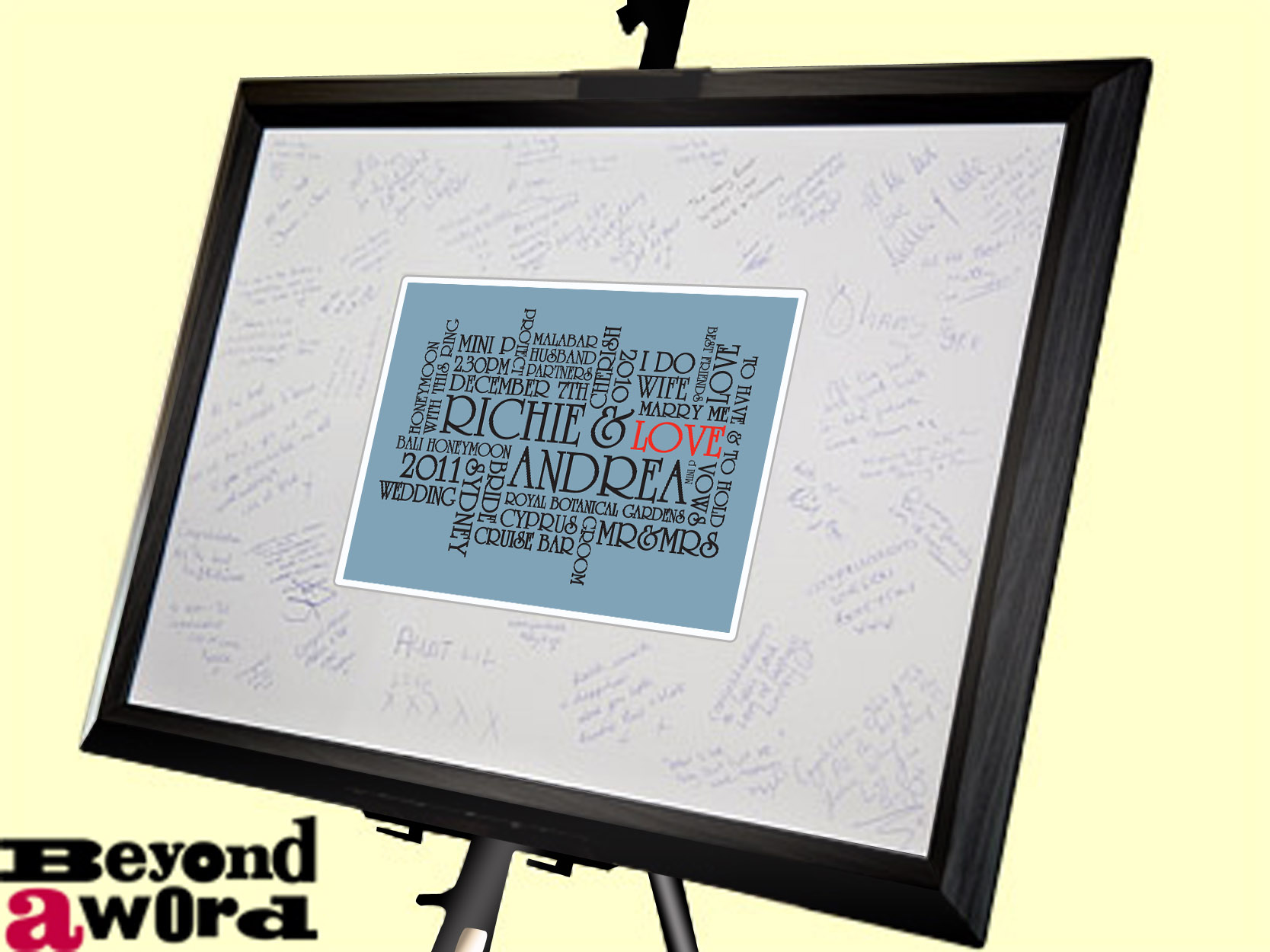 | Signature Frame With 'The Big Day' Wedding Art