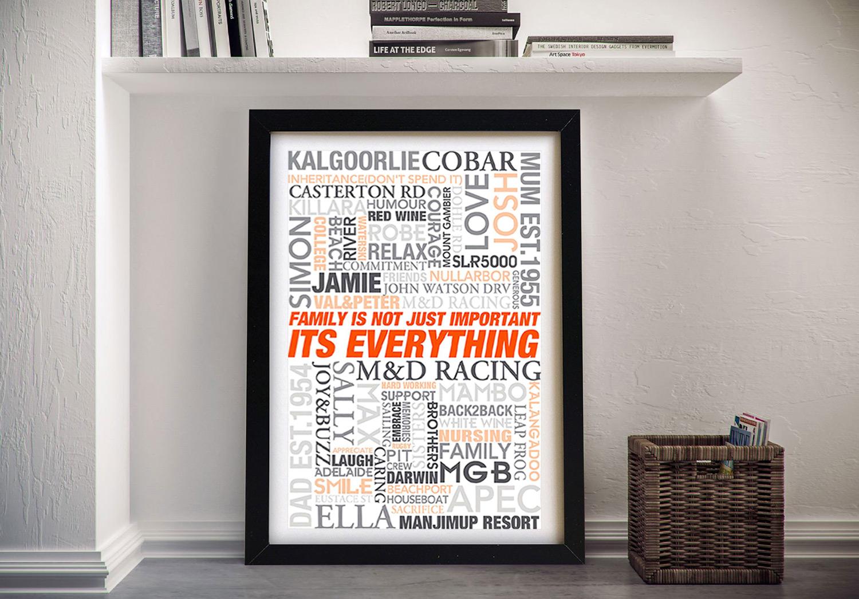 Wedding Gift Ideas Framed Wall Art   Mixed Font Design