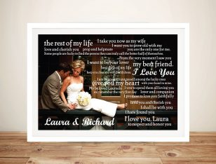 Personalised Wedding Vowels Framed Wall Art