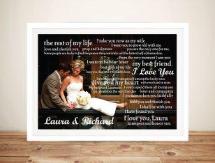 Personalised Wedding Vowels Framed Wall Art