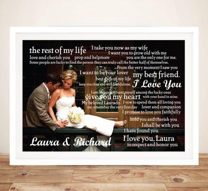 Personalised Wedding Vowels Framed Wall Art | Photo Word Clusters