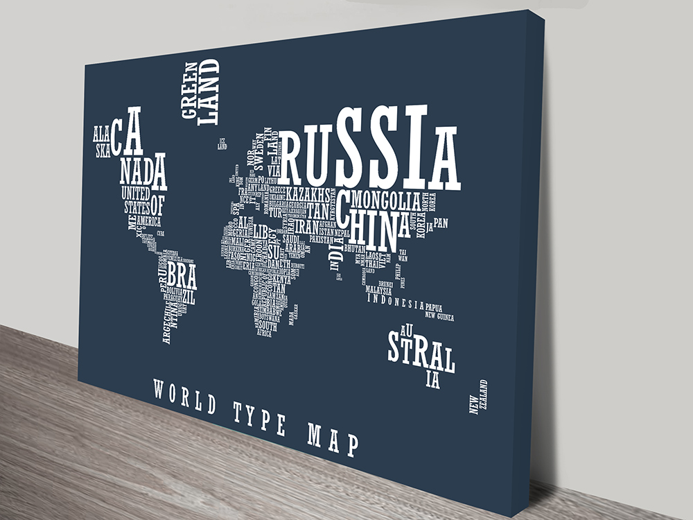 World Type Map Canvas | World Word Map