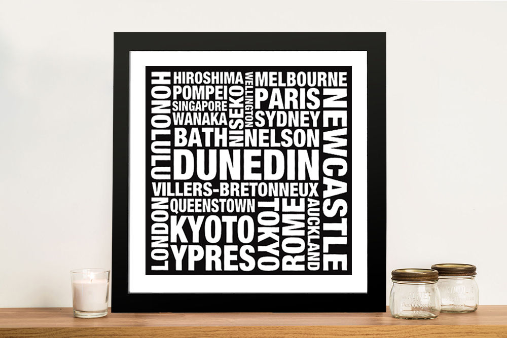 black and white word art canvas print