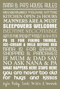 house rules custom word art