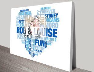 Heart photo shaped word art