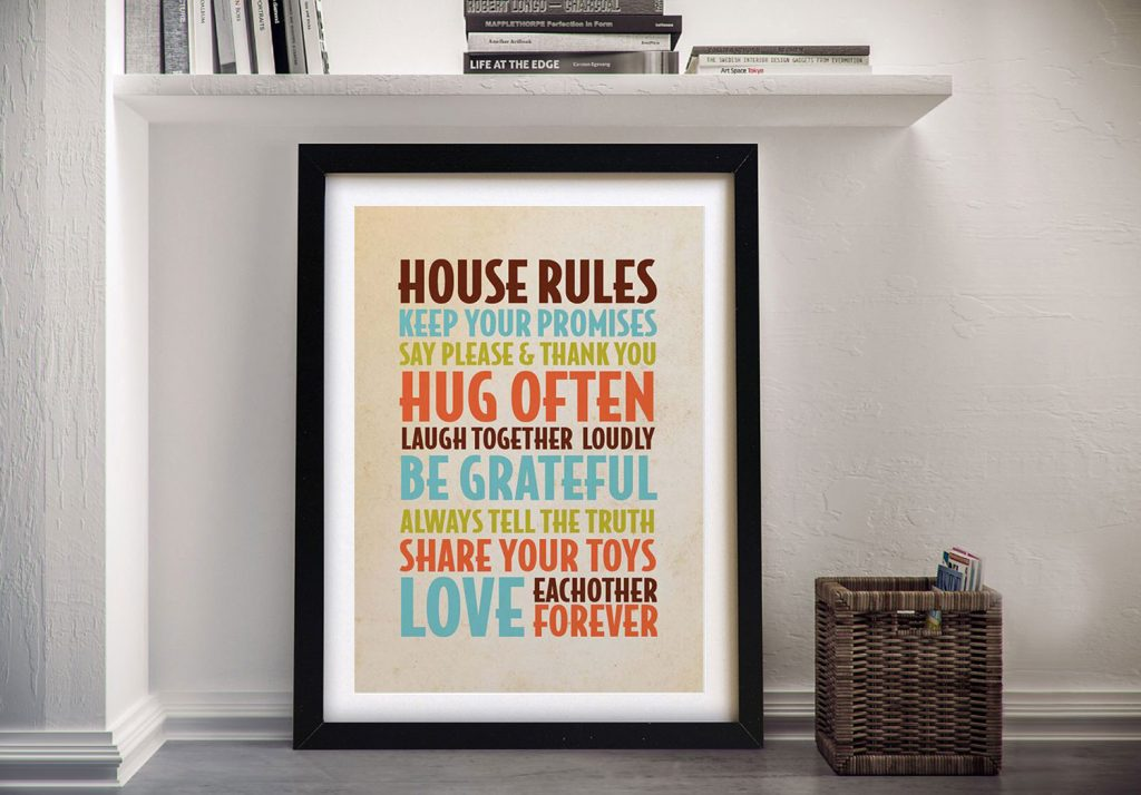 Buy House Rules Personalised Gifts Art