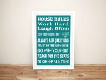 Buy House Rules Personalised Canvas Prints