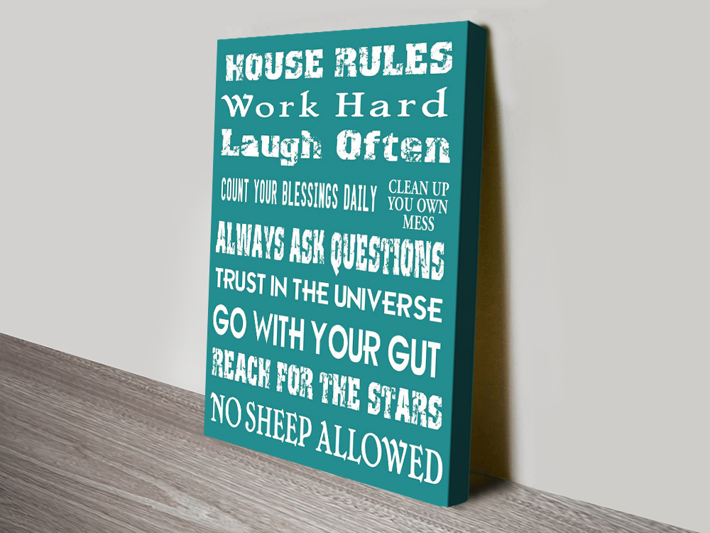 Buy House Rules in Teal Great Gift Ideas Online