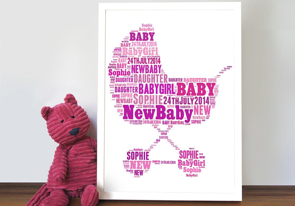 personalised word art new baby | Pram Shape Personalised Art