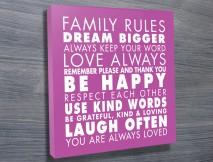 Family Rules Art Purple