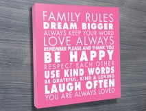 Family Rules Art Pink