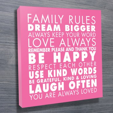 Family Rules Art Pink | Family Rules – Pink