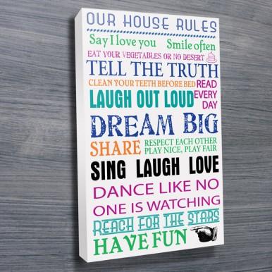 House Rules Coloured Wall Art | House Rules – Coloured