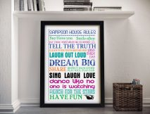 Buy House Rules Coloured Wall Art