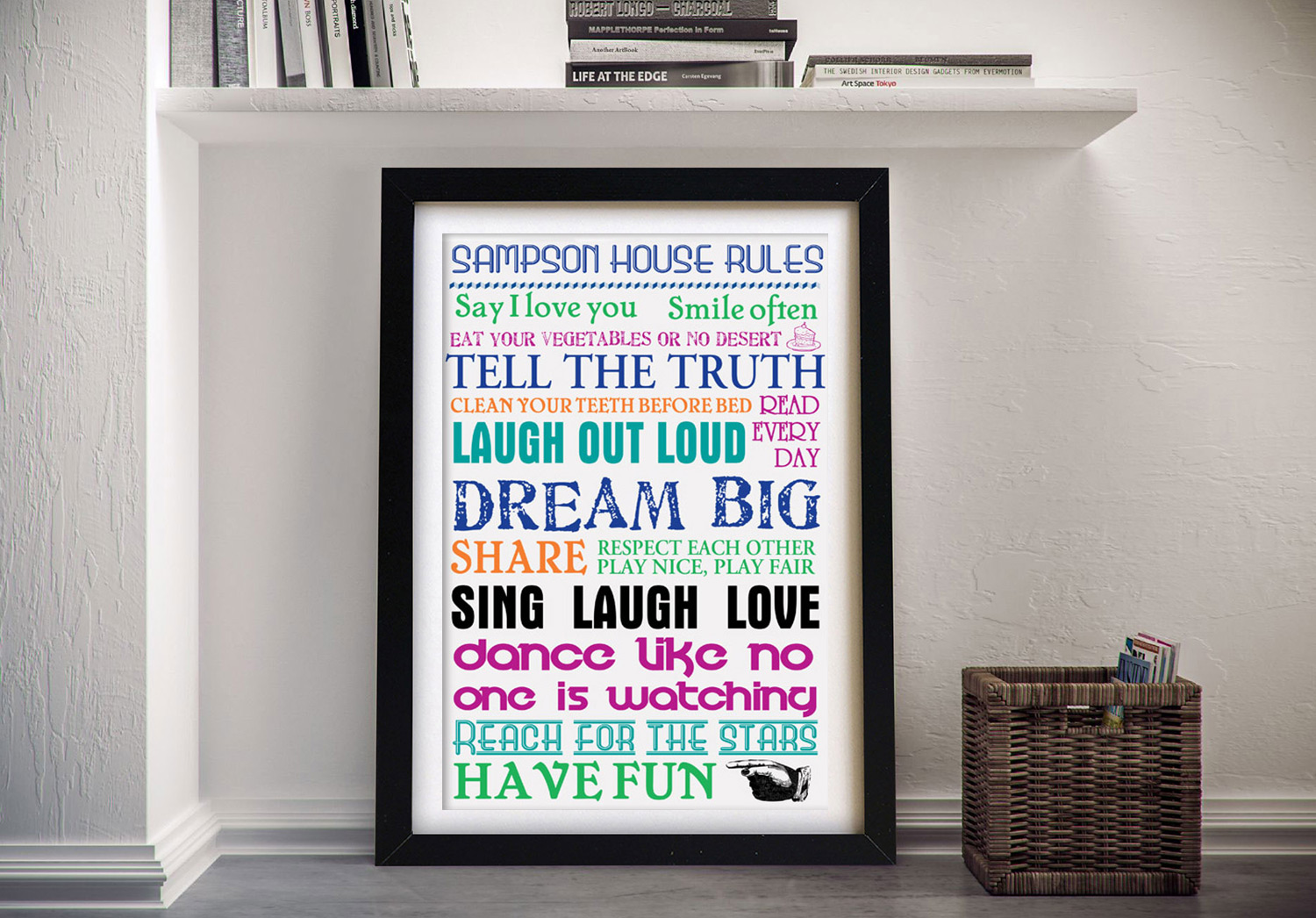 Buy House Rules Coloured Wall Art | House Rules – Multi-Coloured