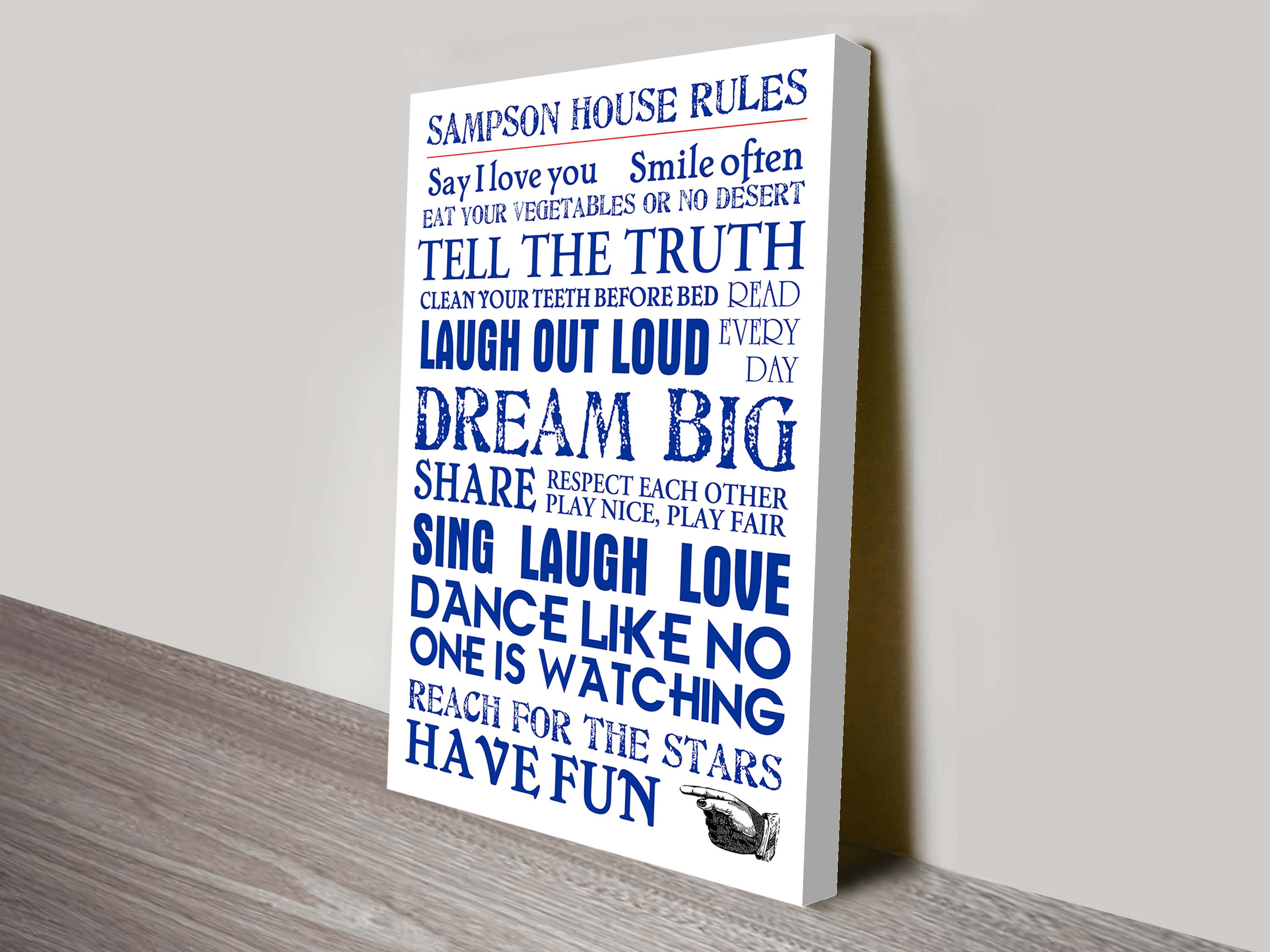 House Rules Scroll Blue Typographic Custom Artwork | House Rules – Blue