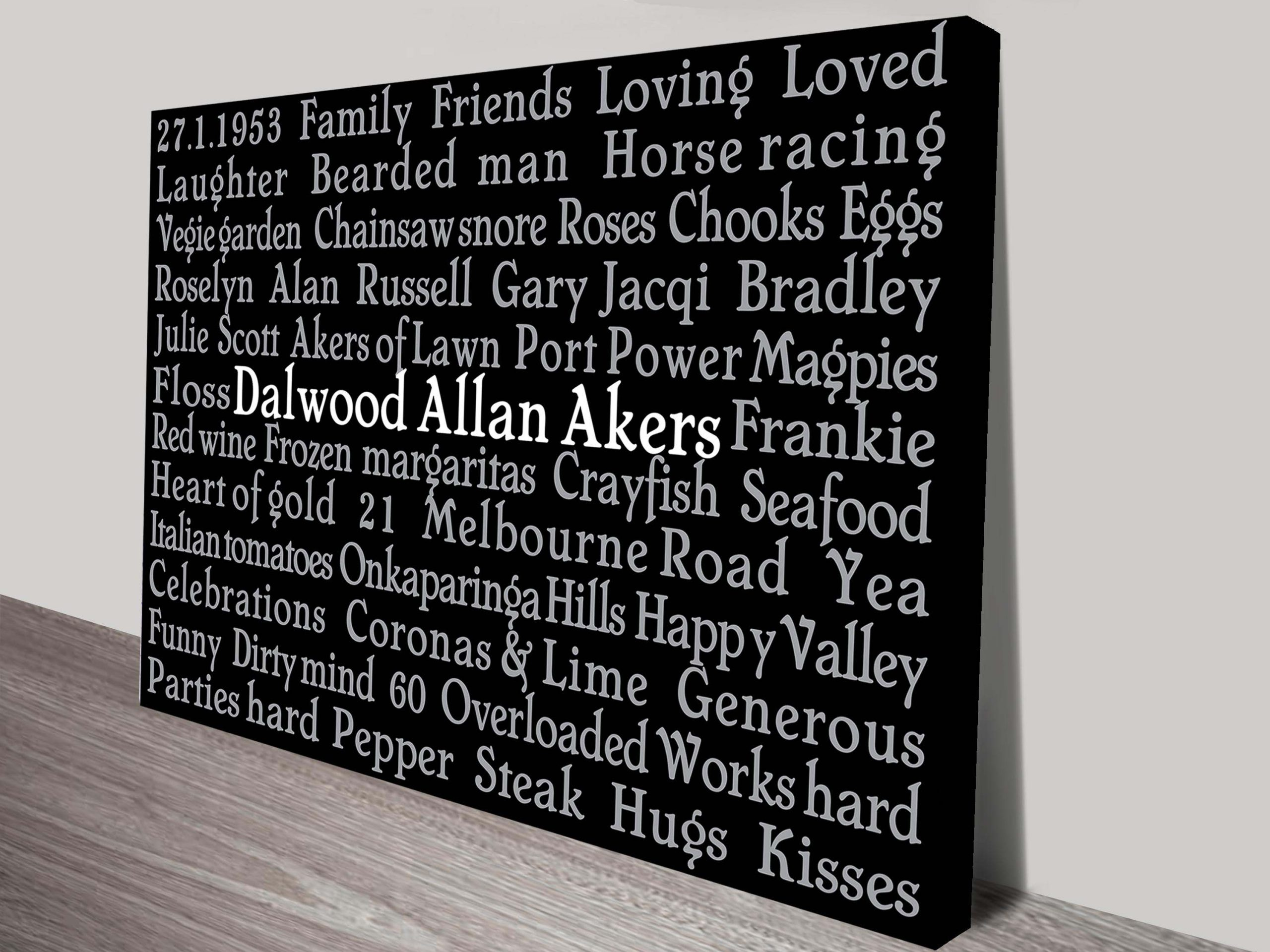 Typographic Personalised Artwork Fathers Gift Ideas | Central Word Line