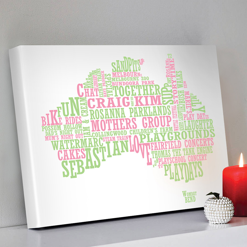 Australian map word art | Personalised Map Art