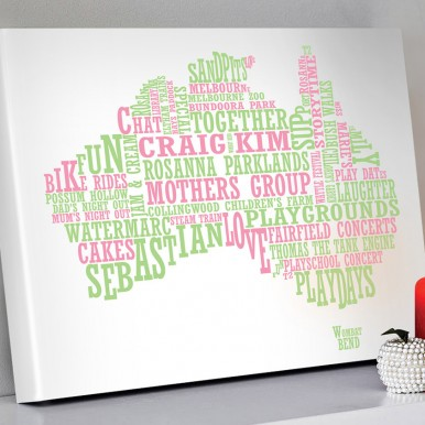 Australian map word art | Full Colour Personalised Map