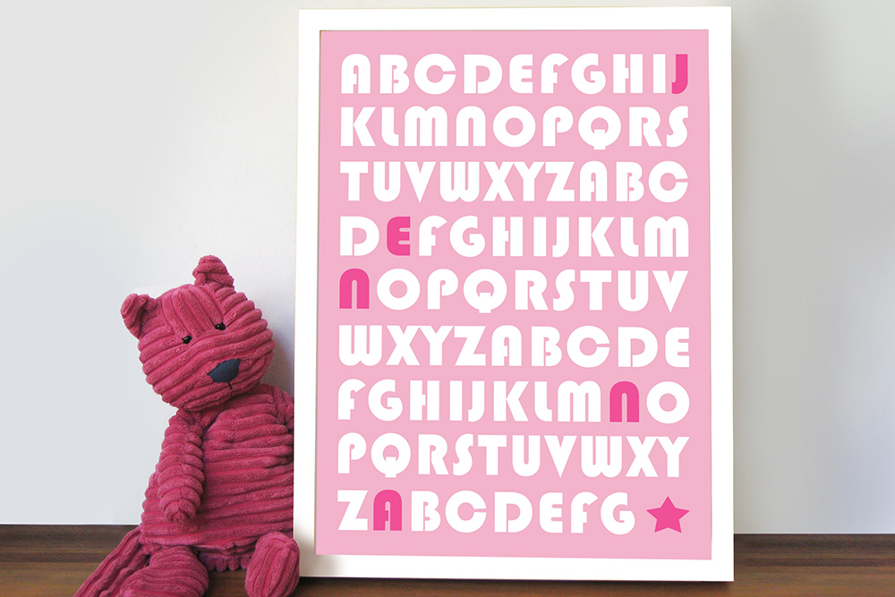 Baby Girl Alphabet Art   Alphabet Fun – Style 2