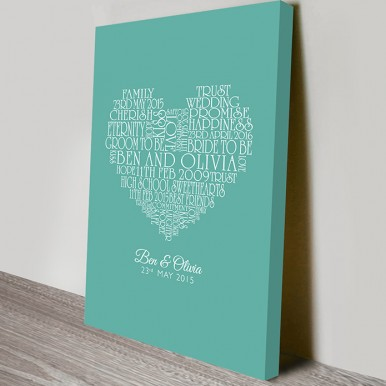 Wedding gift Canvas print | Name Hearts