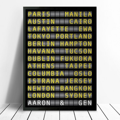 Personalised Flight Destination Sign Art | Airport Destination Sign – style 2