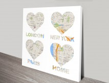 Personalised Map Art Canvas