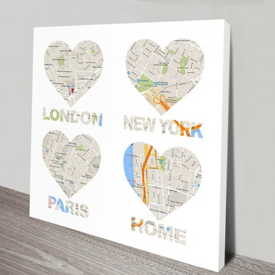 Personalised Map Art Canvas | Home is where the heart is 2