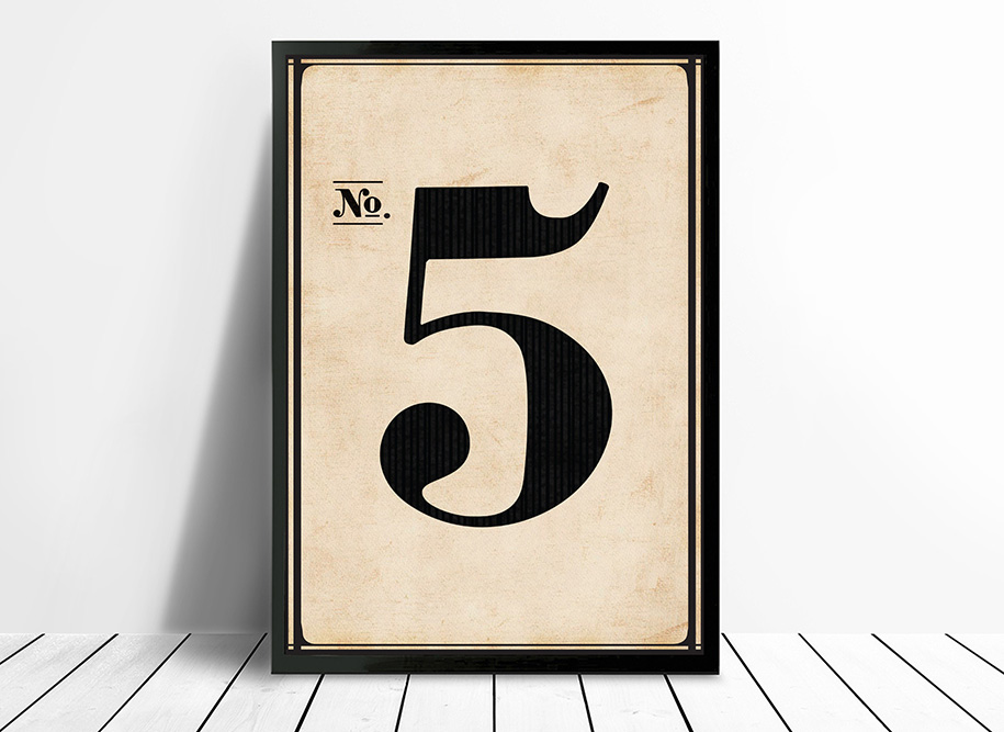 Vintage framed art Number 5 | Vintage No. 5