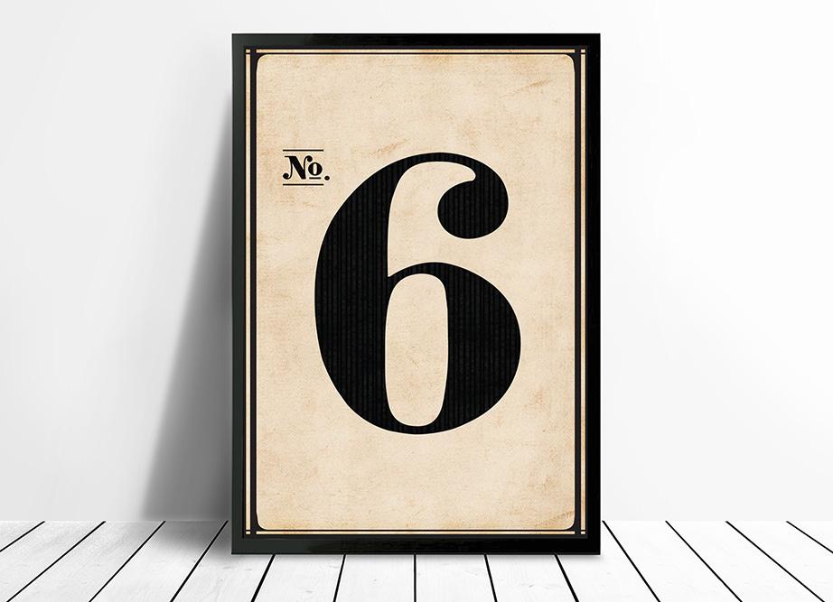 Vintage framed art Numbers | Vintage No. 6