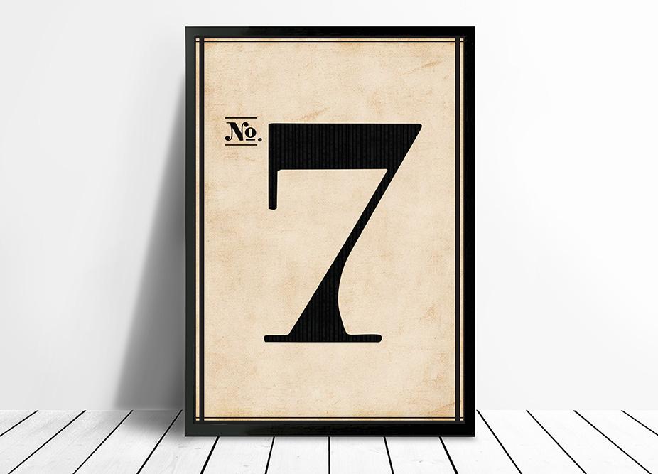 Vintage framed art Number 7 | Vintage No. 7