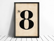 Vintage framed number wall art