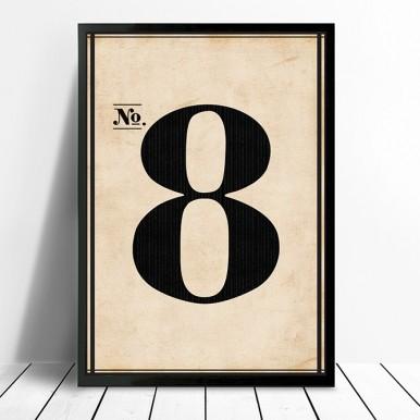 Vintage framed number wall art | Vintage No. 8