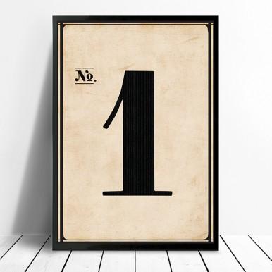 Framed Vintage Numbers Wall art | Vintage No. 1