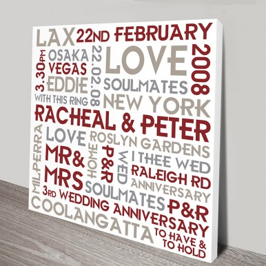Wedding Personalised Canvas Art | Couples Canvas