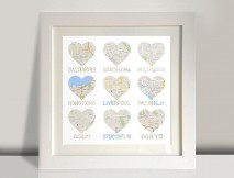 Heart shaped map framed art
