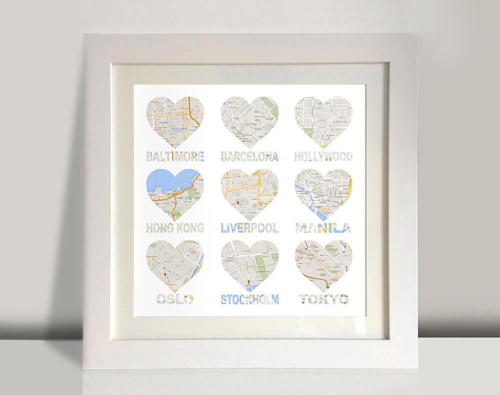 Heart shaped map framed art | Bespoke 9 Hearts – style 2