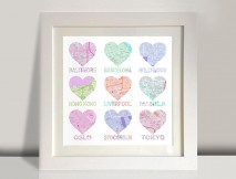 Heart shaped map wall art