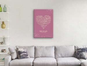 personalised wedding vows art canvas